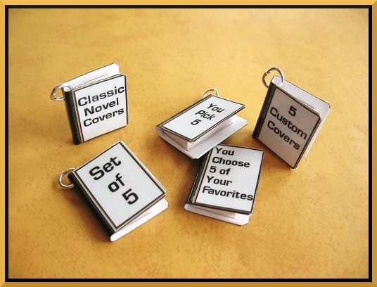 Custom Miniature Book Charms - Includes 5 in Set - You Pick Your Favorite Covers