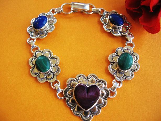 Vintage Heart Link Sterling Silver Bracelet - Multi Stone - Colorful