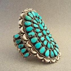 Vintage Turquoise Cluster Sterling Silver Cuff Bracelet Southwestern